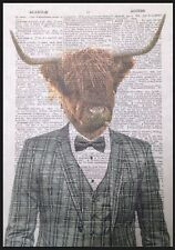 Highland Cattle Print Vintage Dictionary Page Wall Art Picture Cow Grey Tartan