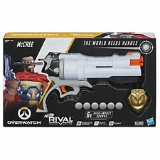 NERF Overwatch McCree RIVAL BLASTER with Die Cast Badge + 6 Rounds Playset Toy