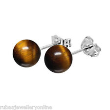 6mm GENUINE TIGERS EYE BEAD / BALL 925 STERLING SILVER EARRINGS STUDS