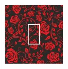 Red & Black Classic Rose Floral Light Switch Vinyl Sticker Cover Skin Decal