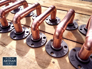 Copper Pipe Handles - Door / Cupboard Handles - Rustic - Industrial - Vintage UK