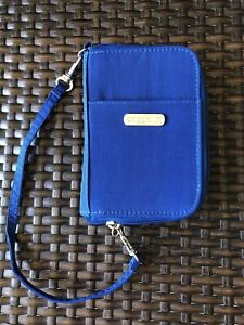 Baggallini Blue Wristlet Wallet Travel Clutch Purse Mini Bag Card Slots Zip