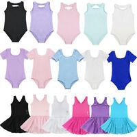 Girls Kids Gymnastics Ballet Leotard Dance Dress Unitard Bodysuit Tutu Dancewear