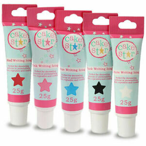Writing Icing Tube CAKE STAR CULPITT Ready to Use Piping White Black Pink Blue