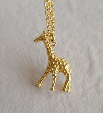 Collier Pendantif Mi Long Petit Animal Cerf Giraffe Plaqué Or 18 Retro Class DZ2