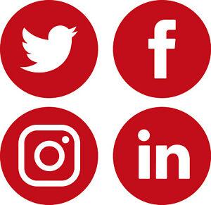 Social Media Logo Vinyl Stickers Window Walls Vehicle Display Twitter Round