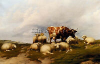 COOPER THOMAS SIDNEY COW SHEEP CLIFFS ARTIST PAINTING OIL CANVAS REPRO ART DECO