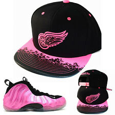 Mitchell & Ness Red Wngs Snapback Hat Matching Foamposite One Polarized Pink Cap