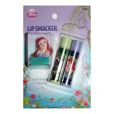 LIP SMACKER* 3pc Set MAGICAL WONDERS DUO Balm+Topper Keychain TIANA+ARIEL Disney