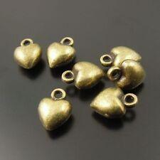 Antique Style Bronze Tone Heart Shaped Zinc Alloy Pendants 7*7*5 mm 80 pcs