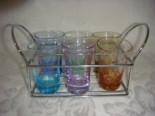 6 VINTAGE COLOURED SHOT GLASSES WITH CADDY MID CENTURY MODERN