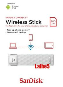 SanDisk 200GB 200G CONNECT Wireless Stick WIFI USB Pen Drive for iPhone Android