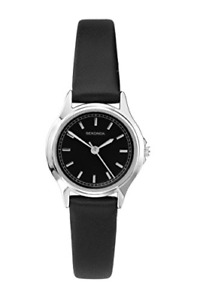 Sekonda Ladies Classic Black Dial Analogue Watch with Black Strap 2694
