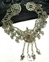 Antique OTTOMAN Turkish Silver Leaves Red Green Stones HEADDRESS Wedding PIECE