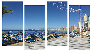 """BENIDORM DURING DAY CANVAS WALL ART PICTURES SPLIT MULTI 4 PANEL 43"""" X 25"""""""