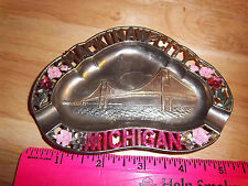 Old Metal Mackinaw City Michigan Ashtray Colorful and Unique Collectors Item