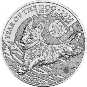 2018 Royal Mint 1oz Year of the Dog Silver Coin in capsule.