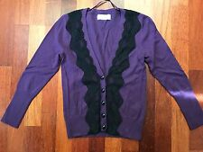 PORTMANS Black Lace & Purple Wool Knit Jumper Cardigan | XSmall | RRP$79