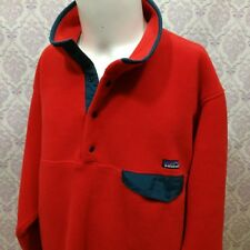 Patagonia Snap T Synchilla Mens Size L Red Fleece Pullover Jacket Blue Trim