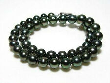 10-11mm natural tahitian black green pearl necklace 18'' gift