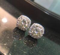 925 Sterling Silver 3Ct Brilliant Cut Push Back Stud Halo Moissanite Earrings