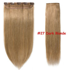 100g Real Clip In Remy Human Hair Extensions One Piece 3/4Full Head Highlight US