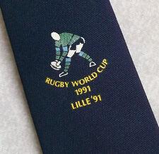Vintage RUGBY Tie Mens Necktie Retro Sport WORLD CUP 1991 LILLE 91