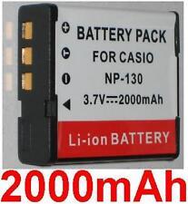 Batterie 2000mAh type NP-130 NP-130A Pour CASIO Exilim EX-H30BK