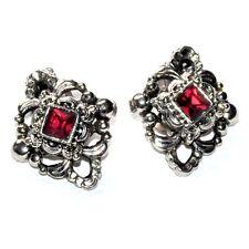 Bijou Boucles d'oreilles clips anciennes plaqué argent cristal rouge earring A2