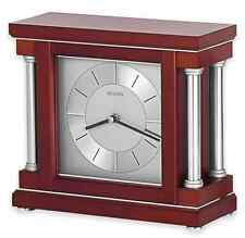 Wine Finished Wood Clock, Modern Tabletop Mantle Desk Table Top Shelf Decor, New