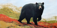 Black Bear in Flowers Painting Original Art Lodge Cabin Cottage Lawrence Dyer