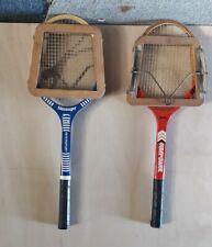 2 Vintage wooden SLAZENGER Tennis Rackets 70s 80s with 2 x press
