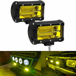2Pcs Yellow LED Work Lamp Motorcycle Truck Off Road SUV Car Fog Light Waterproof