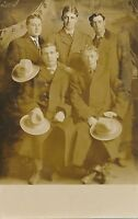 Five Young Men Real Photo Postcard rppc