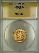 1958 Great Britain Sovereign Gold Coin ANACS MS-66 Gem BU (D)