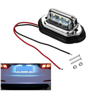 6 LED Car License Plate Light 12V 24V High Brightness Lamp 2Pcs SUV Universal