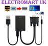 VGA SVGA TO HDMI CONVERTER + USB AUDIO VIDEO CABLE LAPTOP PC DVD HD TV 1080P