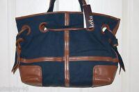 NEW! NWT! KOOBA Denim Blue Canvas / Leather ROSE Over the Shoulder Tote Bag $328