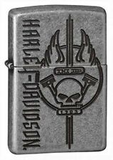 Zippo Unisex Lighter Harley Davidson Armour Silver Plate Windproof Lighter