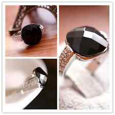 Elegant Retro Big Black Rhinestone Vintage Ring Jewelry crystal gemstone Womens