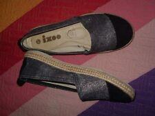 Alpargatas zapatillas manoletinas Rubber Sole Ixo cuero dentro plateado viejo 37
