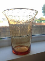 "LARGE VINTAGE AMBER ORANGE WHITEFRIARS CONTROLLED BUBBLE ART GLASS VASE 9"" TALL"
