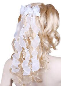 GIRL COMMUNION HEADPIECE/BRIDAL WEDDING RIBBON BOW VEIL,Beads & Diamantes 08351