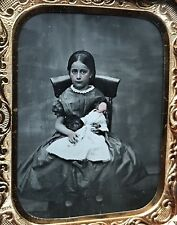 """SUPER 1/9 PLATE - SWEET GIRL HOLDING RARE DOLL - IN """"CATCHING BUTTERFLIES"""" CASE"""