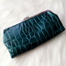 **RARE** Kenneth Cole Reaction Emerald Colored Faux Croc Clutch/Wallet/Organizer