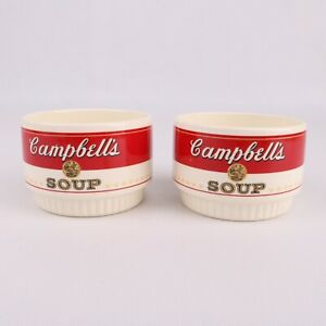 2 Vintage Campbell Soup Bowls Ceramic USA McCoy Stackable Advertising 2 Sided
