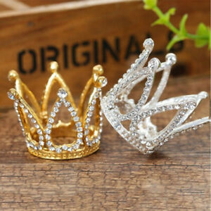 Mini Crown Princess Topper Crystal Pearl Tiara Children Hair Ornaments Cake Deco