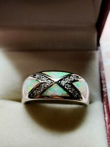 Sterling Silver Opal & Cz Pretty Ring Size S 7g