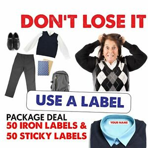 IRON-ON LABEL Name 50 Garment Tags & 50 Sticky Label Waterproof  Tapes School