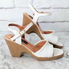 Vintage 1970s S.R.O. D'Miguel Spain White Leather Platform Sandal Rubber Heels